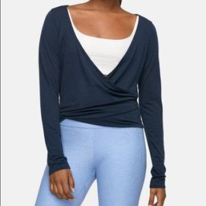 Outdoor Voices Plie Wrap Top in Navy